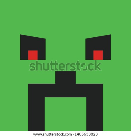 pixel agressive face on green
