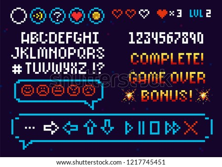 Pixel Alphabet Font and set icons vector template for arcade game. 8-bit pixel alphabet and numbers typeface. Editable pixel font, text bubble and game navigation buttons