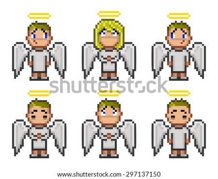 pixel angels for video game and