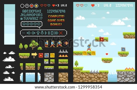 Pixel art Adventure 8 Bit game scene and quest creator of ground, texture, grass, trees, sky, clouds, character, levels. Set of Indie game Arcade elements for retro video game design