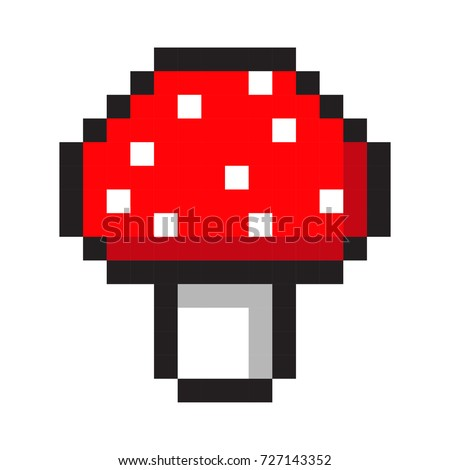 pixel art amanita mushroom cartoon retro game style set
