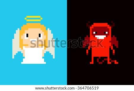 pixel art angel and demon