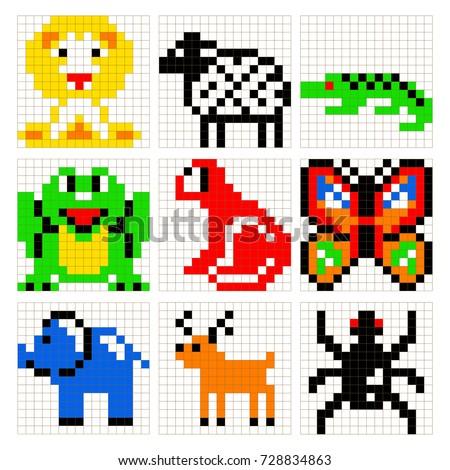pixel art animals vector set