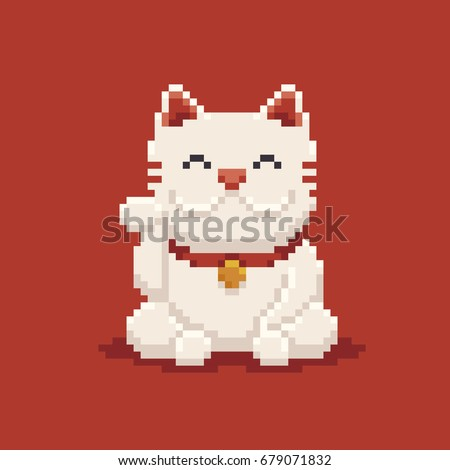 Pixel art asian lucky cat, maneki neko isolated on red background