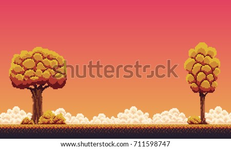 Pixel art autumn background with trees, ground, grass, sky and clouds