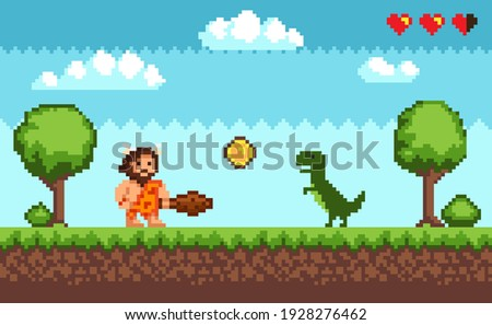 Pixel art background with primitive man and dinosaur in natural landscape. Pixelated scene with caveman, green dragon, gold coin, against background of trees and clouds. Pixel-game 8 bit retro