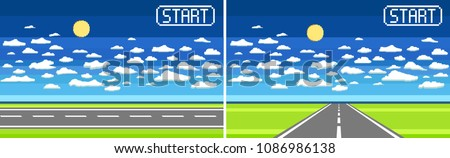 Pixel art background with road, ground, grass, sky, clouds, and sun. Background for racing