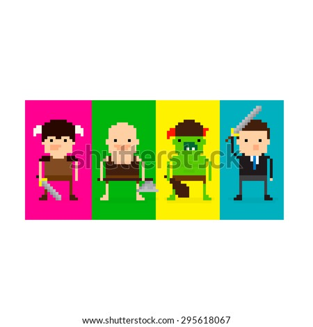 pixel art 8 bit game characters