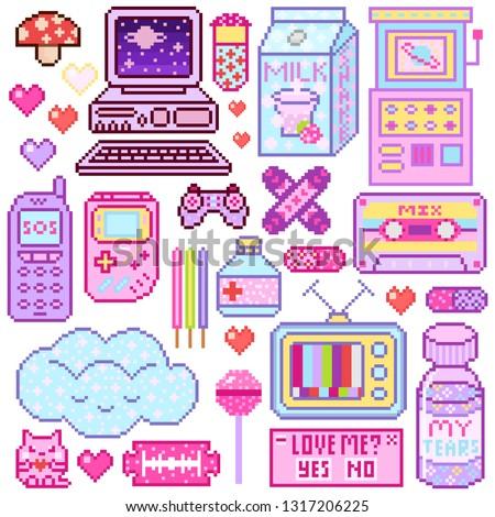 Pixel art 8 bit objects. Pink fashion digital game. Consoles Computer, Video arcades, cartoon cassette, Cream Milk, Cloud nostalgia, juice package. Set of pastel icons, girly stickers. Vintage assets.
