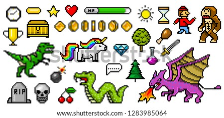 Pixel art 8 bit objects. Retro game assets. Set of icons. vintage computer video arcades. characters dinosaur pony rainbow unicorn snake dragon monkey and coins, Winner's trophy. vector illustration.