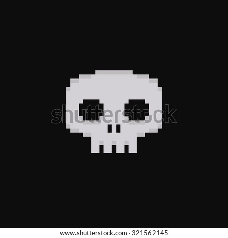 pixel art 8 bit skull isolated