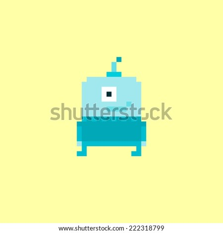 Pixel art blue alien character isolated on yellow background