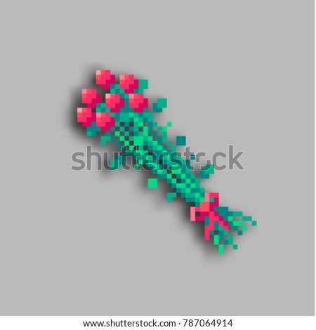 Pixel art bouquet of roses with shadow. Icon of flowers.