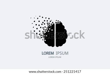 pixel art brain logo vector
