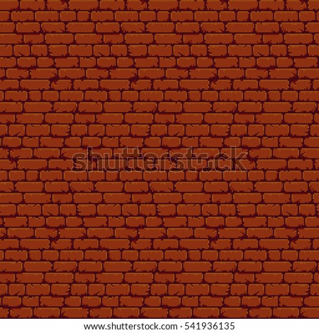 Pixel art brick wall texture with old and cracked bricks