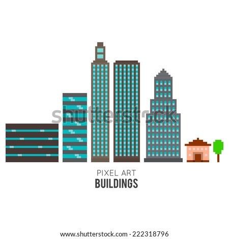 pixel art buildings