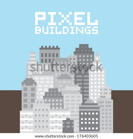 Pixel art buildings vector set
