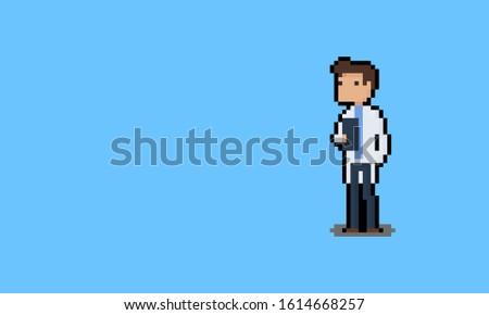 Pixel art cartoon docter character. stock photo