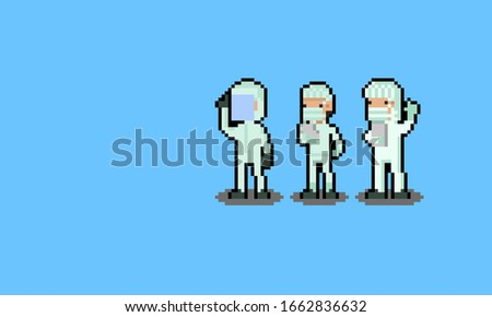 Pixel art cartoon medical staff character set. stock photo