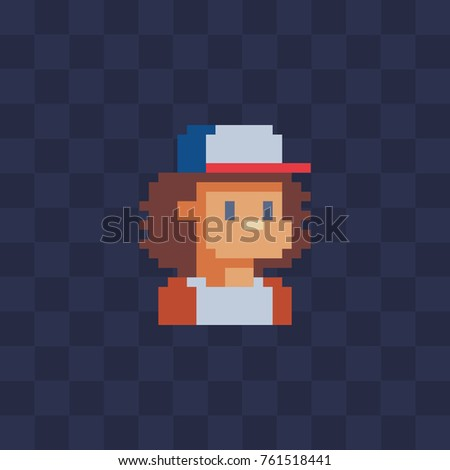 Pixel art character. Guy in cap. Flat style. Avatar of profile picture. 8-bit. Isolated vector illustration.