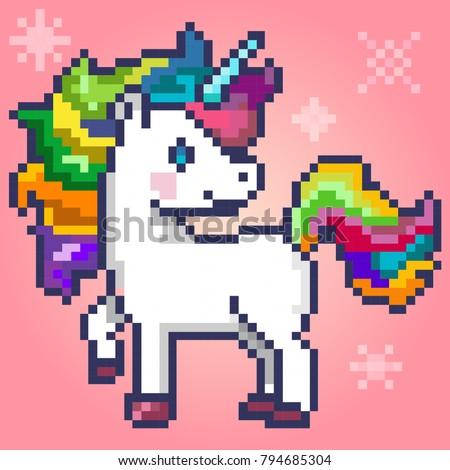 Pixel-art character magic unicorn