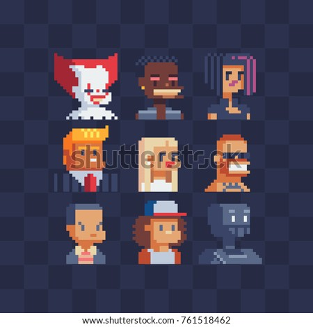 Pixel art characters avatars set. Flat style. Clown, politician, girl, cool guy, blonde and robot. Portraits profile. Stickers design. Isolated vector illustrator. 8-bit.