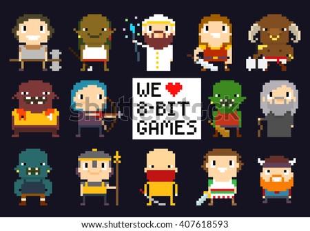 pixel art characters  8 bit