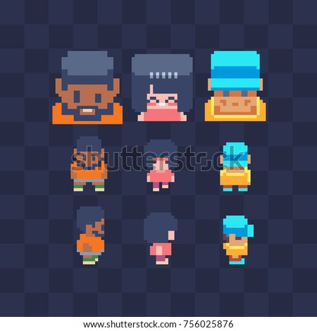 Pixel art characters icon set. Man, girl and guy in a cap. Video game sprite. 8-bit. Isolated vector illustration. Sticker design.