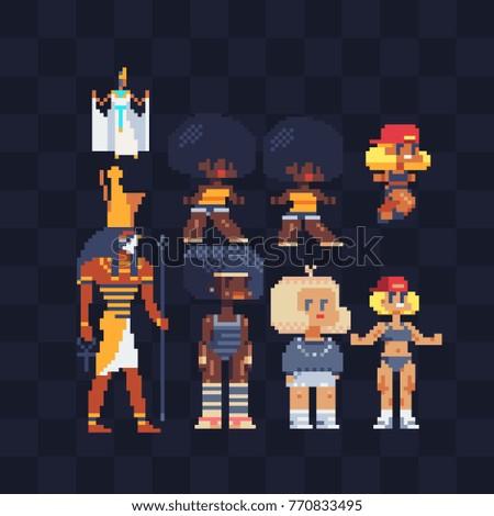 pixel art characters set