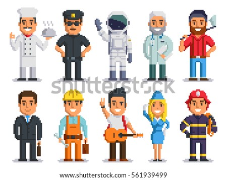 Pixel art characters set, professions pixel art people isolated design. Chef, Policeman, Cosmonaut, Doctor, Woodcutter, Businessman, Builder, Musician, Stewardess, Firefighter. vector pixel 8 bit art.