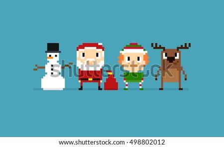 pixel art christmas characters
