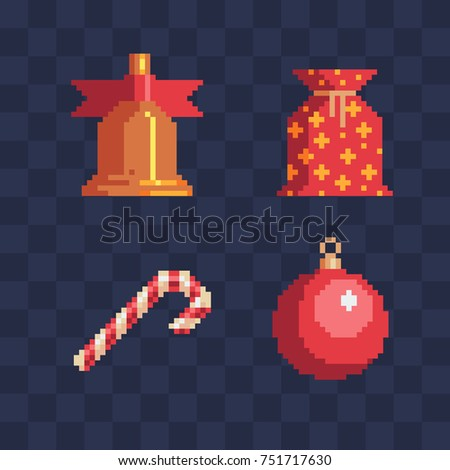 Pixel art christmas icons set. Set of happy new year attributes. Merry christmas greeting card design. Isolated vector illustration