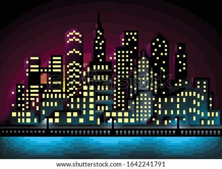 pixel art city landscape vector