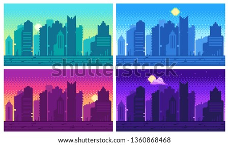 pixel art cityscape town
