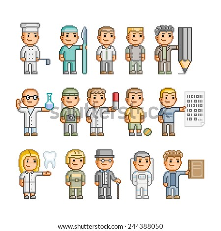 Pixel art collection Smiling people Different professions