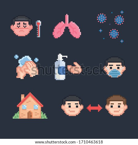 Pixel art coronavirus precautions and symptoms stock photo