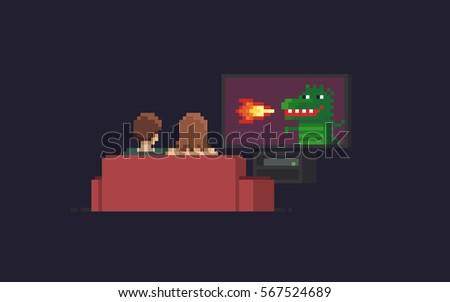 pixel art couple watching tv