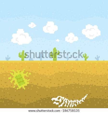 pixel art desert vector