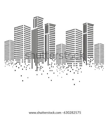 pixel art design of building