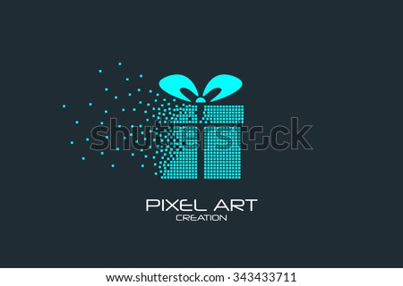 pixel art design of the gift