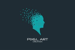 Pixel art design of the human head logo.
