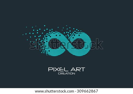 Pixel art design of the infinity logo.