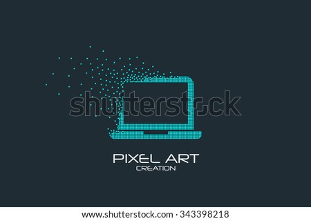pixel art design of the laptop