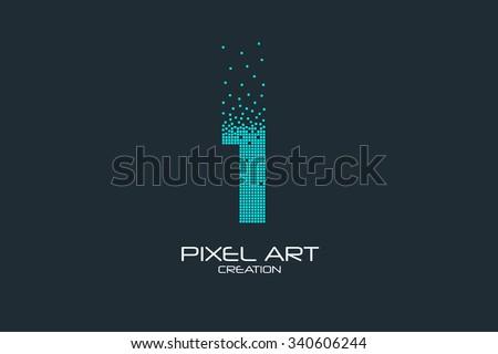 Pixel art design of the 1 number logo.