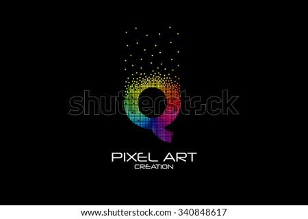 Pixel art design of the Q letter logo.