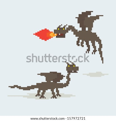 pixel art dragons flying and