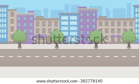 pixel art empty city vector