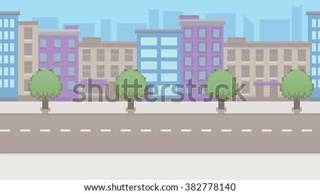 pixel art empty city vector