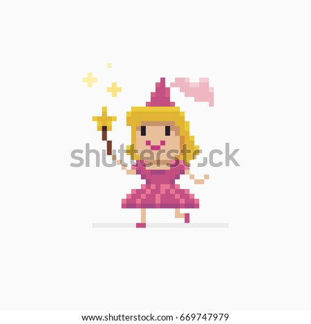 Pixel art fairy princess running with star shaped wand and doing magic