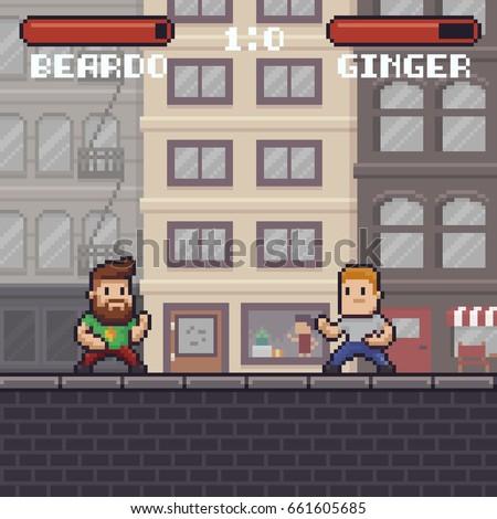 pixel art fighting game scene